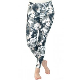 Leggings Gris Estampado Flores