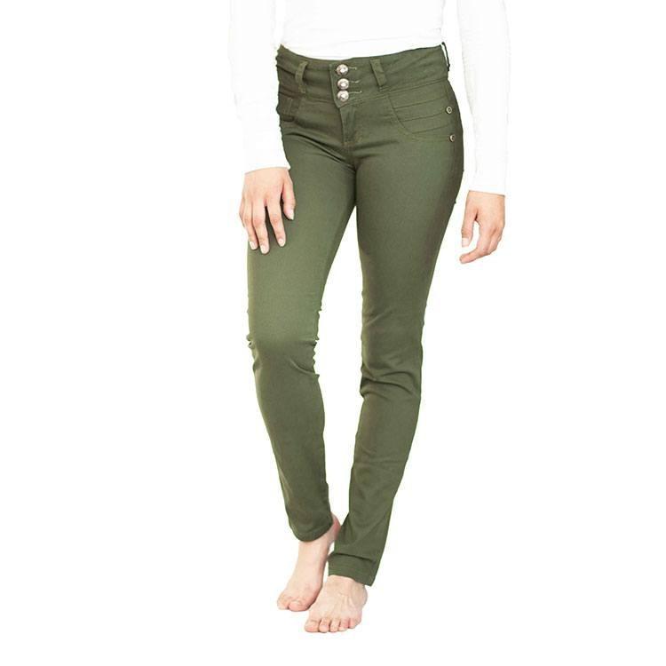 Pantalon Verde Militar Para Mujer Levantacola En Drill